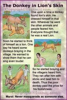 Moral Stories: The Donkey in Lion's Skin. - Fit-O-Matic Stories With Moral Lessons, English Moral Stories, Short Moral Stories, English Stories For Kids, Moral Stories For Kids, Learning English For Kids, Short Stories For Kids, English Worksheets For Kids, English Story