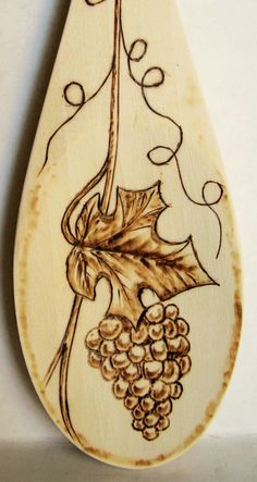 "unique pyrography leaves | 19-2009, ""Grapes & Leaf"", perfect for wine lovers."