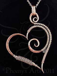 Hammered Copper Heart Pendant & Chain by nalisa