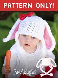 Crochet furry bunny hat pattern. Can be made for boys or girls and is a great pattern for all levels of crocheters! www.briabby.com