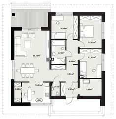 DOM.PL™ - Projekt domu TP Irysek 4 CE - DOM TP2-08 - gotowy koszt budowy Rio 2, Facade House, Future House, House Plans, Villa, Floor Plans, Layout, Flooring, How To Plan