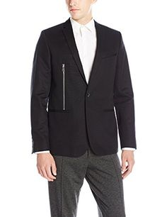 Calvin Klein Men's Slim Fit One Button Sportcoat with Side Zip