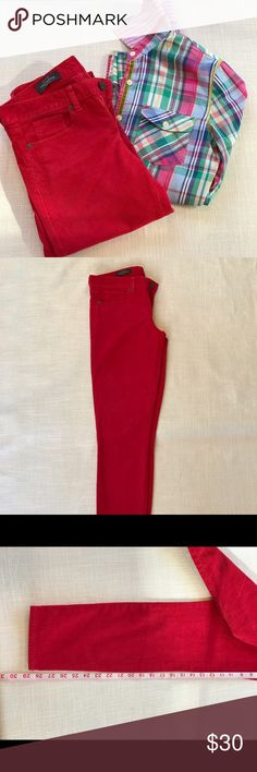 J Crew Matchstick red cords J Crew Marchstick red cords, 26T-ankle. Worn very little. Colors are still very bright, always washed in cold water and no dryer. Inseam is 29 inches, front rise is 8 inches and ankle width is 5 inches lying flat. 93 percent cotton, 6 percent Elasterell  and 1 percent Spandex. J. Crew Jeans Skinny