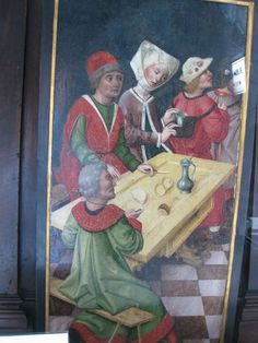 More 15th C Art on display in Viennese shop. Note the small flask being put in the back pack