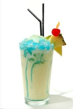 the swimming pool | 1½ ozs white rum ¾ oz vodka 2 oz pineapple juice ¾ oz cream of coconut ¼ oz cream 1½ cups crushed ice ¼ oz blue curacao | mix all ingredients except blue curacao. add blue curacao over the top to form the pool..
