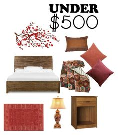 """Under $500 Bedroom - Rustic"" by shistyle ❤ liked on Polyvore featuring interior, interiors, interior design, home, home decor, interior decorating, Magnussen Home, Croscill, Greenland Home Fashions and Pottery Barn"