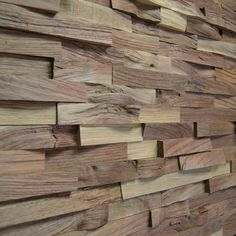 Wallure Striped - Walnut - Narrow - Split - Natural Wooden Wall Panel