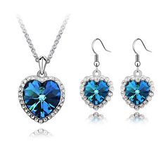 Btime Austrian Crystal Blue Necklace Earrings Titanic Memoria Jewelry Sets Heart of Ocean  Women Wedding Crystals From Swarovski