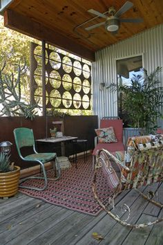 Super cute - corrugated wall, metal screen, modern fan, knee wall ... Eclectic Porch Deck Design, Pictures, Remodel, Decor and Ideas - page 17