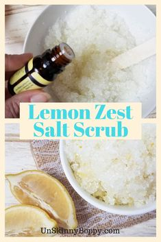 This Lemon Zest Salt Scrub is perfect for your at-home spa day! You'll love how simple and easy it is to create! Plus, it smells amazing! Spa Day At Home, Home Spa, Young Living Oils, Young Living Essential Oils, Diy Scrub, Homemade Beauty Products, Wellness, Scrubs, Create