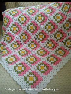 Granny Square Häkelanleitung, Granny Square Crochet Pattern, Crochet Squares, Crochet Granny, Crochet Baby, Crochet Patterns, Crochet Videos, Elsa, Blanket