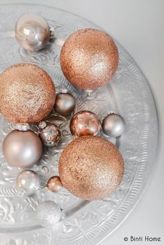 20 X 6CM Gold Rose Gold Copper Metallics Christmas Tree Ball Bauble Hanging Xmas