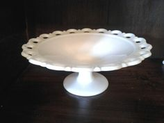 Close-up of milk glass shallow compote