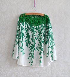 Green Vintage Hollow Lace Willow Print Chiffon Shirt