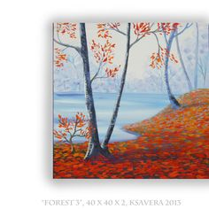 Enchanted Forest Original Acrylic Painting Impressionist FREE SHIPPING World Tree of life Art Contemporary orange sky blue autumn garden on Etsy, $64.00