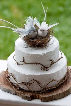 rustic love birds wedding cake topper / http://www.himisspuff.com/love-birds-wedding-ideas-youll-love/2/