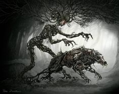 Forest Spirit Sends Disease Creature by TeroPorthan on DeviantArt Forest Creatures, Weird Creatures, Mythical Creatures, Black And White Effect, Horror Music, World Mythology, Nature Spirits, Best Horrors, Mythological Creatures