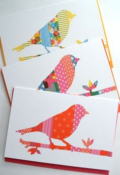 handmade notecard set from Dekorella decor Patch Greeting Card Shop . bird on a branch silhouettes .. strips of bright printed washi tapes as fill ...