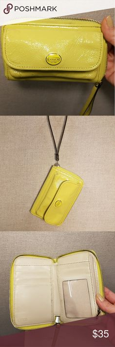 Coach Wallet Beautiful yellow patent leather authentic Coach wallet. This is the perfect wallet. It has an inner and outer coin pocket, credit card slots and ID space with a wristlet style. Easy to take with you for a quick trip to the store or a night out because the outer pocket fits a lipstick perfectly. Coach Bags Wallets