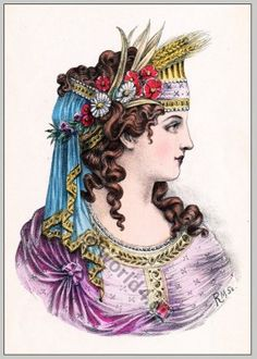 Ancient Greece hairstyle. The Greek costume