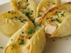 Chicken Alfredo shells