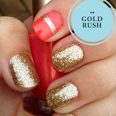 Gold Glitter  Coral... What do you think of the nail mix? XX #gold #nails #kookai