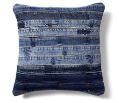 Cojín cuadrado en patchwork de tela de jeans reciclada