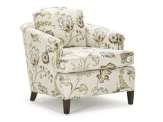 Meaghan's Chair is a modified tub chair with T-shape seat cushion, loose back cushion, softly-rolled arms and extra-comfortable seating.  The pictured chair features peg legs.  With a valance the Meaghan Chair has a more traditional look.