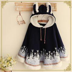 Japanese ears bunny hooded cloak coat from Fashion Kawaii [Japan & Korea] Kawaii Fashion, Lolita Fashion, Cute Fashion, Girl Fashion, Fashion Styles, Teen Fashion Outfits, Mode Outfits, Fashion Dresses, Japanese Fashion