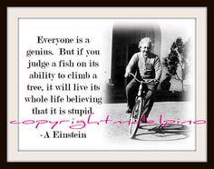 Albert Einstein quote bicycle print inspirational black white judge a fish