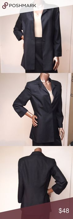 """Ann Taylor Black Silk Extra Long Blazer Brand Ann Taylor Size 10 Measurements Bust 36"""" Sleeve Inseam Length 15"""" Length 30"""" Like New worn once 100% Silk Lined 55% Acetate 45% Rayon Tradition Style Extra long Black Blazer In Shimmering Silk with Lining. Lightweight Bundles available with 20% discount Offers Welcome Ann Taylor Jackets & Coats Blazers"""