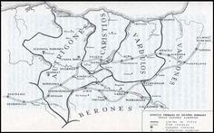 Mapa de Sanchez Albornoz sobre los límites occidentales de las tribus vascas