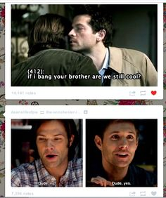 another happy Tumblr Destiel moment! I don't ship Destiel but this made me laugh.