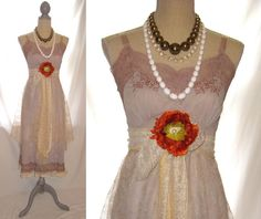 Dusty rose lavender color 1950s hand dyed upcycled by 777DressCode, $109.99
