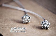 Handmade Sterling Silver Lotus Flower Earring, 925 Silver Ear Studs, Teenage Ear Studs, Valentine, Bridesmaid Earrings, Bridal, Wedding
