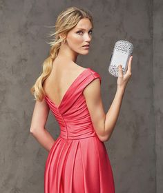 Lasira, long mikado silk dress