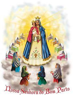Nossa Senhora do Bom Parto- Nossa Senhora do Bom Parto é uma devoção muito antiga, da qual se tem notícia desde o Século XI. A representação veio passando por várias fases ao longo dos séculos e, hoje, temos esta, acima, que representa muito bem a devoção.
