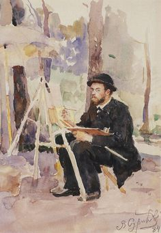 men Василий Суриков. Галерея живописи. Портрет И.С.Остроухова. 1884