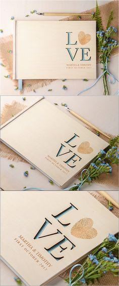 Fingerprint Wedding Guestbook, Wooden Guestbook, Wooden Wedding Guest Book, Custom Guestbook, Modern Guestbook, Engraved Wedding Guestbook