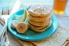 Banana Stuffed Pancakes with Honey Lemon Syrup | The Daily Dish