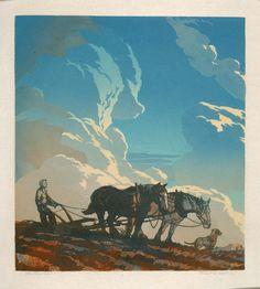 The Plowman ~ Linocut, 14.625 x 13.125 inch ~ Ernest W Watson