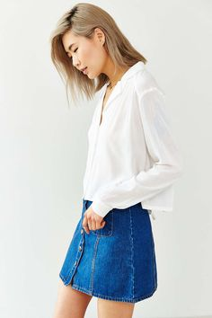Cooperative Reverse-Collar Tie-Back Blouse - Urban Outfitters