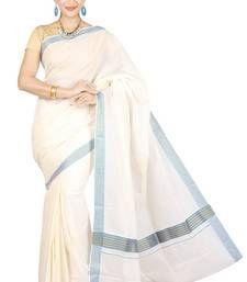 Buy kasavu saree with colour fancy border. south-indian-saree online
