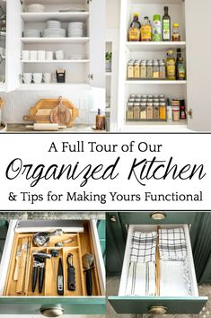 Our Full Kitchen Organization Tour | A full kitchen tour with before and after kitchen organization ideas and quick tips to make it extra functional and clutter-free. #organization #kitchen