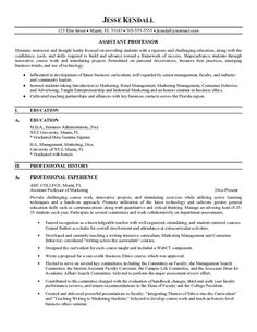 sample resume for faculty position engineering adjunct professor