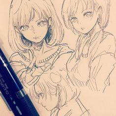 休憩〜お久しぶりです。いまなぜか顔面が描けない病気にかかっているので練習してます、、 #illustration #doodle #drawing #otaku #manga #アナログ #落書き #絵 #イラスト