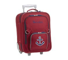 Fairfax Red Small Luggage, Navy Anchor