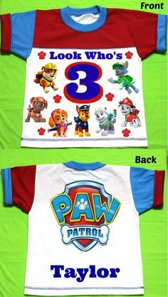 Paw Patrol T-shirt Personalized 12MONTHS,18MONTHS 2T,3T,4T,5T,6TPersonalization is included at no additional cost.