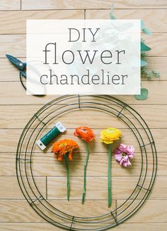 DIY Flower Chandelier for your wedding reception! Who knew this was so easy! Great project for reception decor!