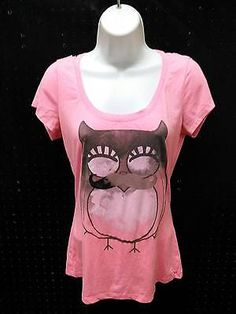 Ransom Pink & Black Lace OWL Short Sleeve TShirt Top Blouse Size Medium B258